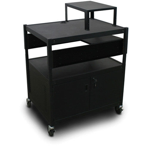 Our Spartan Series Adjustable Media Projector Cart and Cabinet with One Pull-Out Side-Shelf and Expansion Shelf - Black is on sale now.