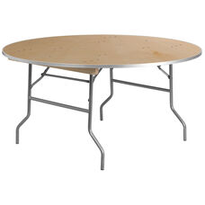 5-Foot Round HEAVY DUTY Birchwood Folding Banquet Table with METAL Edges
