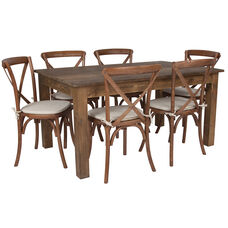"60"" x 38"" Antique Rustic Farm Table Set with 6 Cross Back Chairs and Cushions"