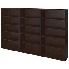 66H Bookcase Storage Wall - Mocha Cherry