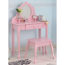 Queen Anne Style Kids Medium Size Vanity Includes Mirror and Stool - Pink