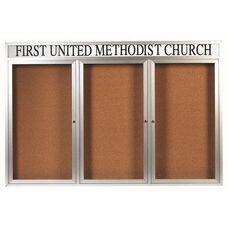 3 Door Indoor Illuminated Enclosed Bulletin Board with Header and Aluminum Frame - 48