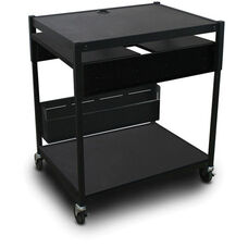 Spartan Series Adjustable Media Projector Cart with Two Pull-Out Side-Shelves - Black