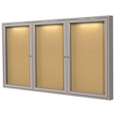 Satin Aluminum Frame 3-Door Enclosed Natural Cork Bulletin Board - Concealed Lights - 36
