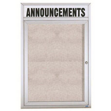 1 Door Outdoor Enclosed Bulletin Board with Header and Aluminum Frame - 24