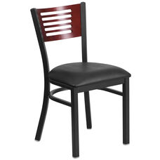 Black Decorative Slat Back Metal Restaurant Chair with Mahogany Wood Back & Black Vinyl Seat