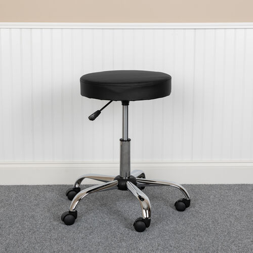 Our HERCULES Series Black Backless Medical Doctor Stool with Antimicrobial / Antibacterial Vinyl, Molded Foam Seat and Chrome Base is on sale now.
