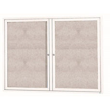 2 Door Outdoor Enclosed Bulletin Board with White Powder Coated Aluminum Frame - 36''H x 48''W