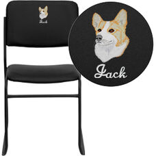 Embroidered HERCULES Series 1000 lb. Capacity High Density Black Vinyl Stacking Chair with Sled Base