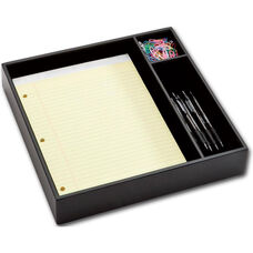 Classic Leather Conference Room Organizer Tray - Black