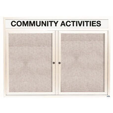 2 Door Outdoor Illuminated Enclosed Bulletin Board with Header and White Powder Coated Aluminum Frame - 36