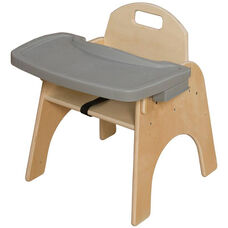 Woodie Baltic Birch Child's Seat with 3-Point Seat Belt and Adjustable Plastic Tray - 17.88''W x 16.25''D x 20''H
