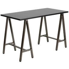 Black Computer Desk with Brown Metal Frame