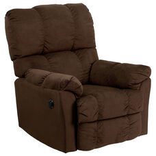 Contemporary Top Hat Chocolate Microfiber Power Recliner with Push Button