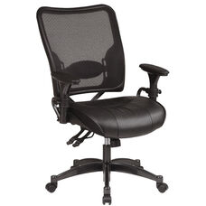 Space Dual Function Air Grid Back Managers Chair with Leather Seat - Black