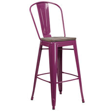 "30"" High Purple Metal Barstool with Back and Wood Seat"