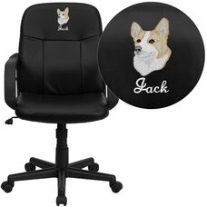 Embroidered Mid-Back Black Glove Vinyl Executive Swivel Office Chair with Arms