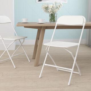 HERCULES Series 650 lb. Capacity Premium White Plastic Folding Chair