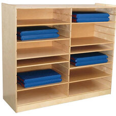 Mat Storage Center with Four Fixed Shelves and Eight Adjustable Shelves - Assembled - 53