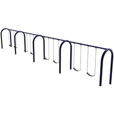 Eight Seat Arch Post Swing Set with Molded Rubber Seats and Eleven Gauge Tubular Steel Frame - 96