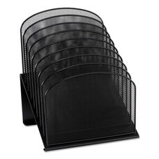 Safco® Mesh Desk Organizer - Eight Sections - Steel - 11 1/4 x 10 7/8 x 13 3/4 - Black