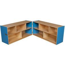 Wooden 10 Compartment Double Folding Mobile Storage Unit - Blueberry - 96