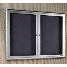 Classic Series Bulletin Board Cabinet with 2 Tempered Glass Locking Doors - 60