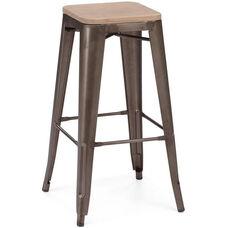 Dreux Rustic Matte Stackable Steel Barstool with Light Elm Wood Seat - Set of 4