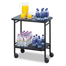 Safco® Folding Office/Beverage Cart - Two-Shelf - 25w x 15d x 30h - Black