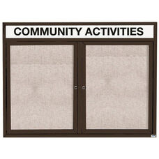 2 Door Outdoor Illuminated Enclosed Bulletin Board with Header and Black Powder Coated Aluminum Frame - 36