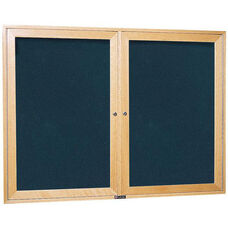 3080 Series Wooden Frame Bulletin Board Cabinet with 2 Locking Tempered Glass Doors - 60