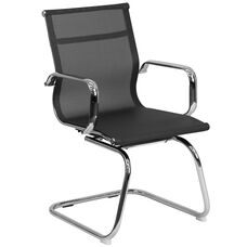 Transparent Black Mesh Side Reception Chair with Chrome Sled Base