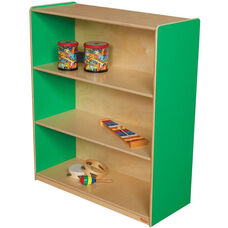 Wooden 3 Fixed Shelf Bookcase with Plywood Back - Green Apple - 36