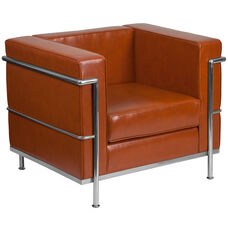 HERCULES Regal Series Contemporary Cognac Leather Chair with Encasing Frame