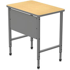 Apex Series Height Adjustable Stand Up Desk with PVC Edge - Fusion Maple Top with Gray Edge and Legs - 36