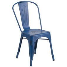 Commercial Grade Distressed Antique Blue Metal Indoor-Outdoor Stackable Chair