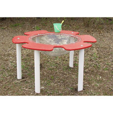 Polyethylene Constructed Tot Town Flower Sand and Water Table with Large Clear Basin - 48