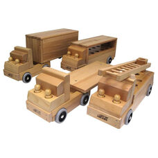 Set of Four Solid Hardwood Transport Vehicles with Eight Wooden People