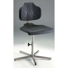 EDJ Stainless Steel Series Chair with Polyurethane Seat and Backrest and Manual Adjustments - High Profile