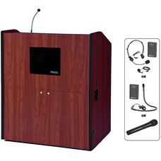 Multimedia Wireless 150 Watt Sound and Microphone Smart Podium - Cherry Finish - 48.5