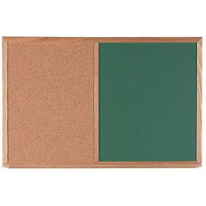 Wood Frame Combination Board with Natural Pebble Grain Cork Bulletin Board and Green Chalkboard