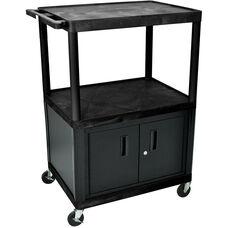 2 Large Shelf A/V Utility Cart with Locking Cabinet - Black - 32