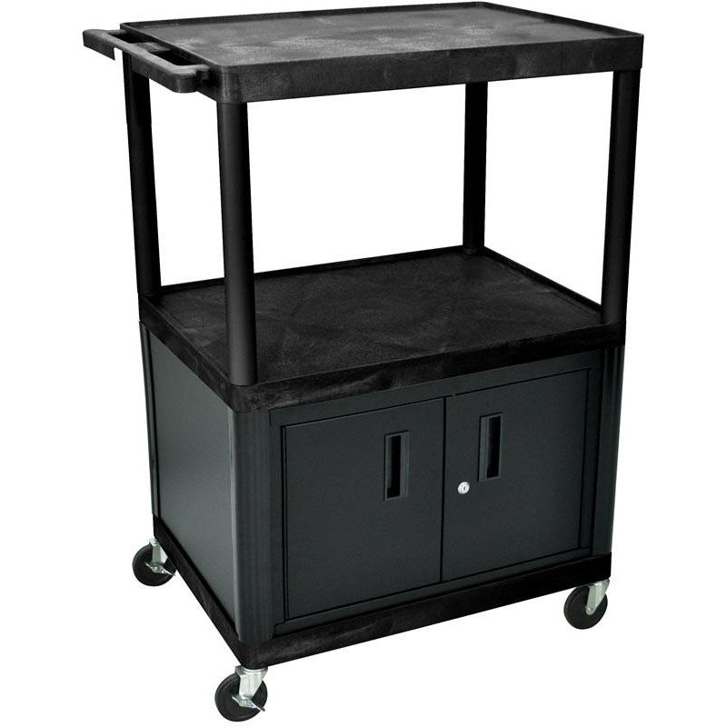 ... Our 2 Large Shelf A/V Utility Cart With Locking Cabinet   Black   32