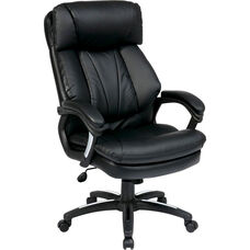 Work Smart Oversized Faux Leather Executive Chair with Padded Loop Arms - Black