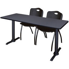 Cain 60''W x 24''D Laminate Training Table with 2 ''M'' Stack Chairs - Gray Table Finish and Black Chairs