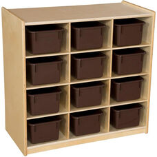 Wooden Cubby Storage Unit with 12 Brown Plastic Trays - 30