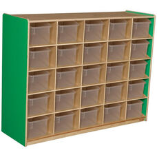 Wooden Storage Unit with 25 Clear Plastic Trays - Green Apple - 48