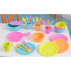 Kids Make-Believe 27 Piece Plastic Kitchen Cookware Play Set - Bright