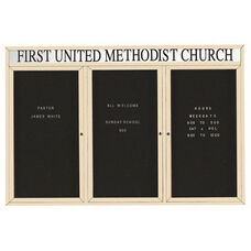 3 Door Indoor Enclosed Directory Board with Header and Ivory Anodized Aluminum Frame - 48