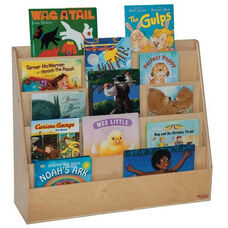 Book Display Stand with Five Sloping Hardboard Shelves on Front and Four Shelves on Rear - Assembled - 30